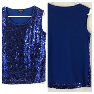 George Royal Blue Sequin Sleeveless Scoop Neck Top